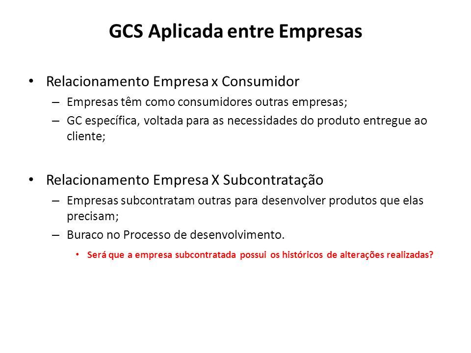 GCS Aplicada entre Empresas Relacionamento Empresa x Consumidor – Empresas têm como consumidores outras empresas; – GC específica, voltada para as nec