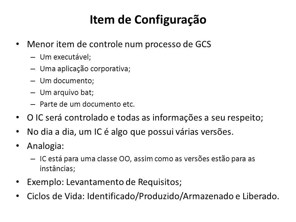 Item de Configuração Menor item de controle num processo de GCS – Um executável; – Uma aplicação corporativa; – Um documento; – Um arquivo bat; – Part