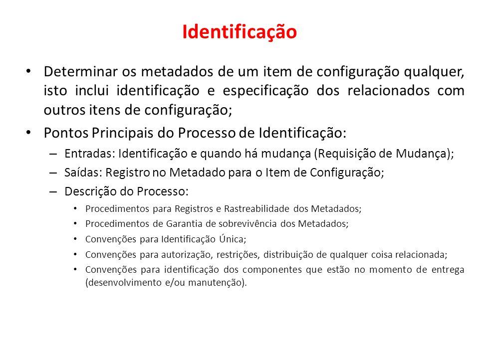 Identificação Determinar os metadados de um item de configuração qualquer, isto inclui identificação e especificação dos relacionados com outros itens
