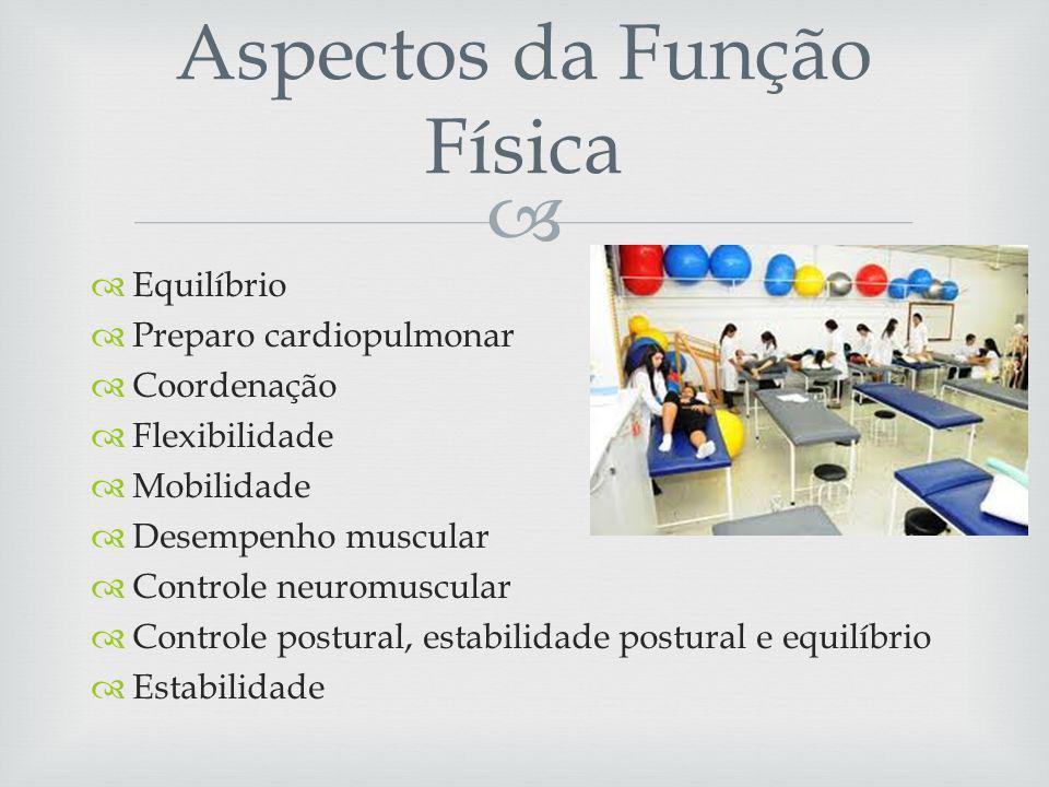 Equilíbrio Preparo cardiopulmonar Coordenação Flexibilidade Mobilidade Desempenho muscular Controle neuromuscular Controle postural, estabilidade postural e equilíbrio Estabilidade Aspectos da Função Física