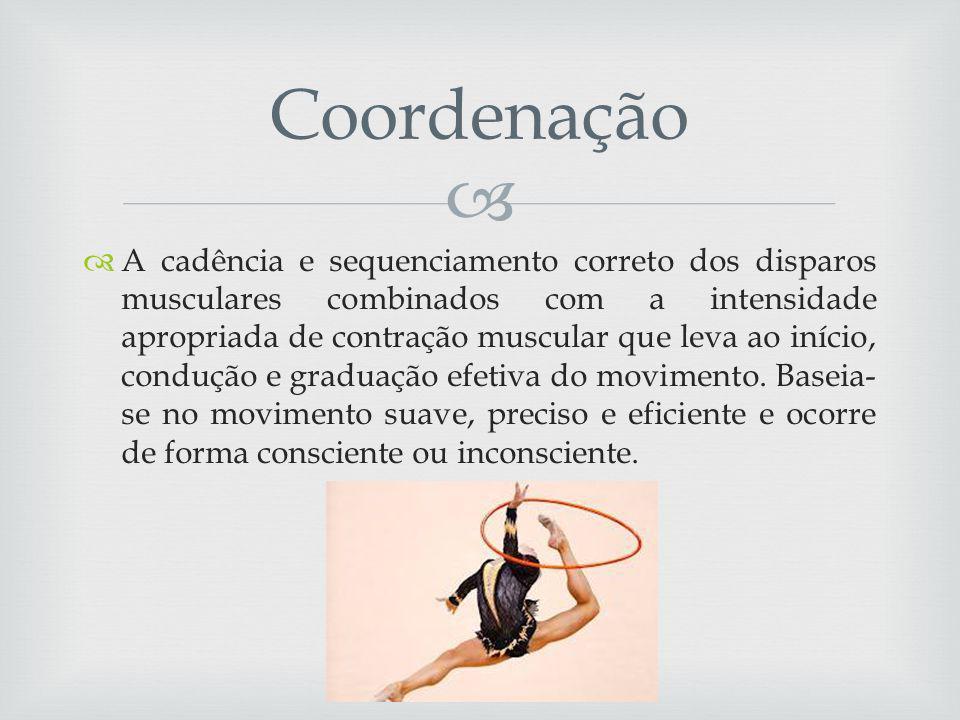 A cadência e sequenciamento correto dos disparos musculares combinados com a intensidade apropriada de contração muscular que leva ao início, condução e graduação efetiva do movimento.
