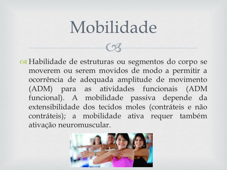 Habilidade de estruturas ou segmentos do corpo se moverem ou serem movidos de modo a permitir a ocorrência de adequada amplitude de movimento (ADM) para as atividades funcionais (ADM funcional).