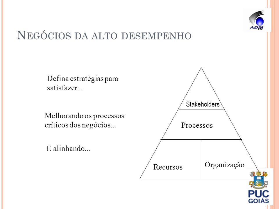 N EGÓCIOS DA ALTO DESEMPENHO 3 Stakeholders Processos Recursos Organização Defina estratégias para satisfazer... Melhorando os processos críticos dos