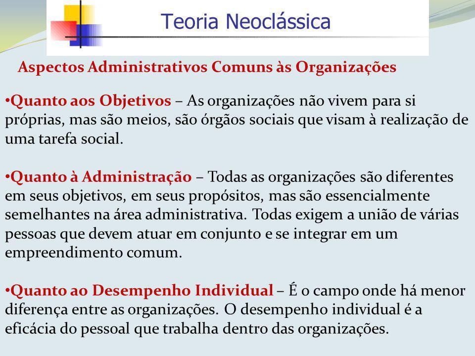 Aspectos Administrativos Comuns às Organizações Quanto aos Objetivos – As organizações não vivem para si próprias, mas são meios, são órgãos sociais q