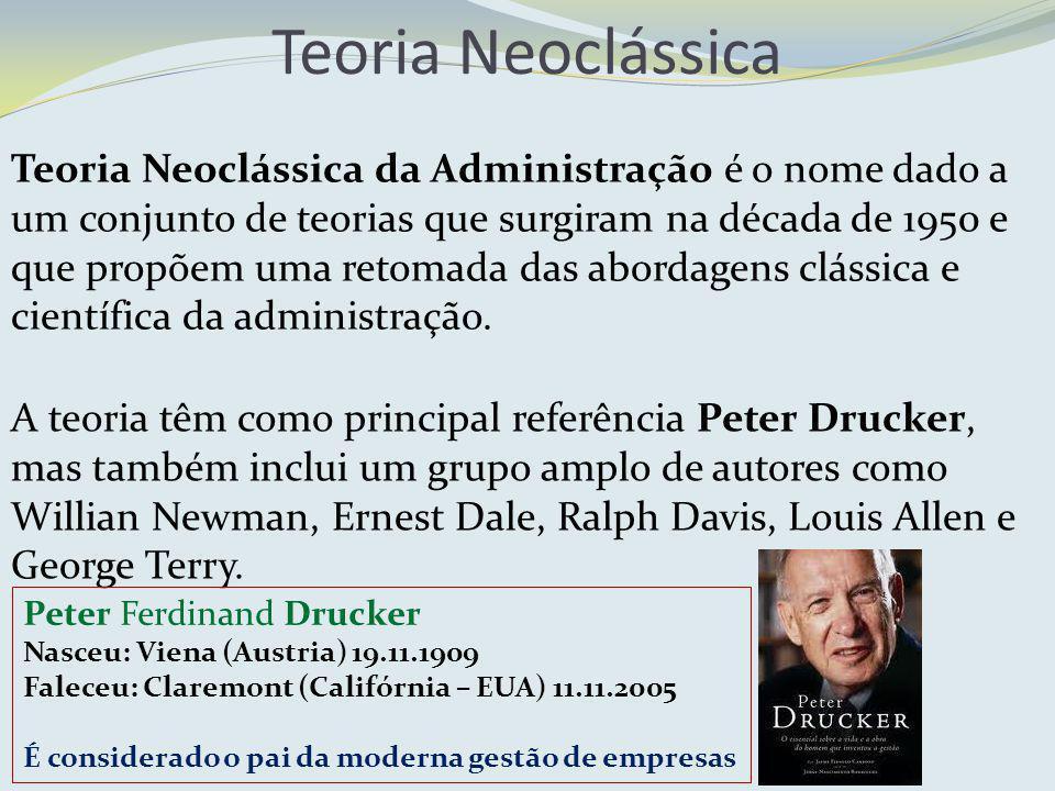 Teoria Neoclássica da Administração é o nome dado a um conjunto de teorias que surgiram na década de 1950 e que propõem uma retomada das abordagens cl