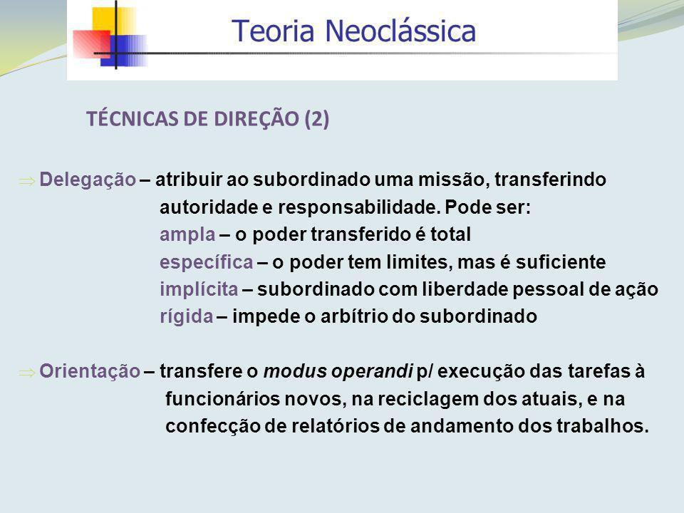 Delegação – atribuir ao subordinado uma missão, transferindo autoridade e responsabilidade. Pode ser: ampla – o poder transferido é total específica –