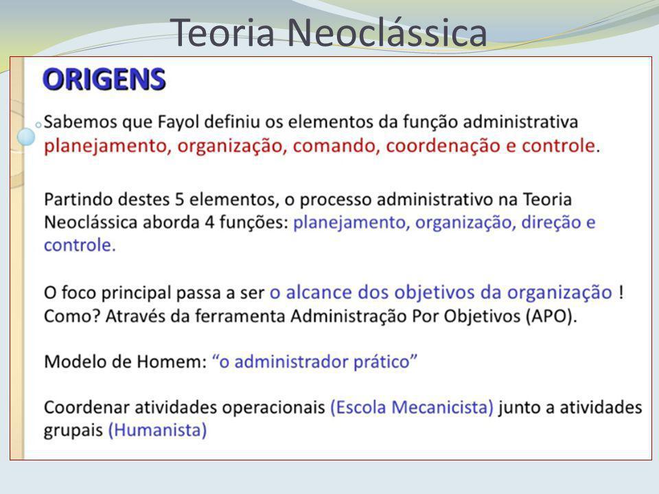Teoria Neoclássica PRINCÍPIOS BÁSICOS DA ORGANIZAÇÃO: Hierarquia: divide a organização em camadas ou níveis de autoridade, tendo os superiores uma certa autoridade sobre os inferiores.