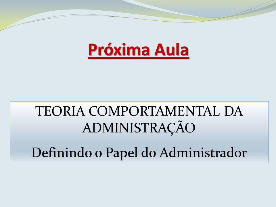 Próxima Aula TEORIA COMPORTAMENTAL DA ADMINISTRAÇÃO Definindo o Papel do Administrador