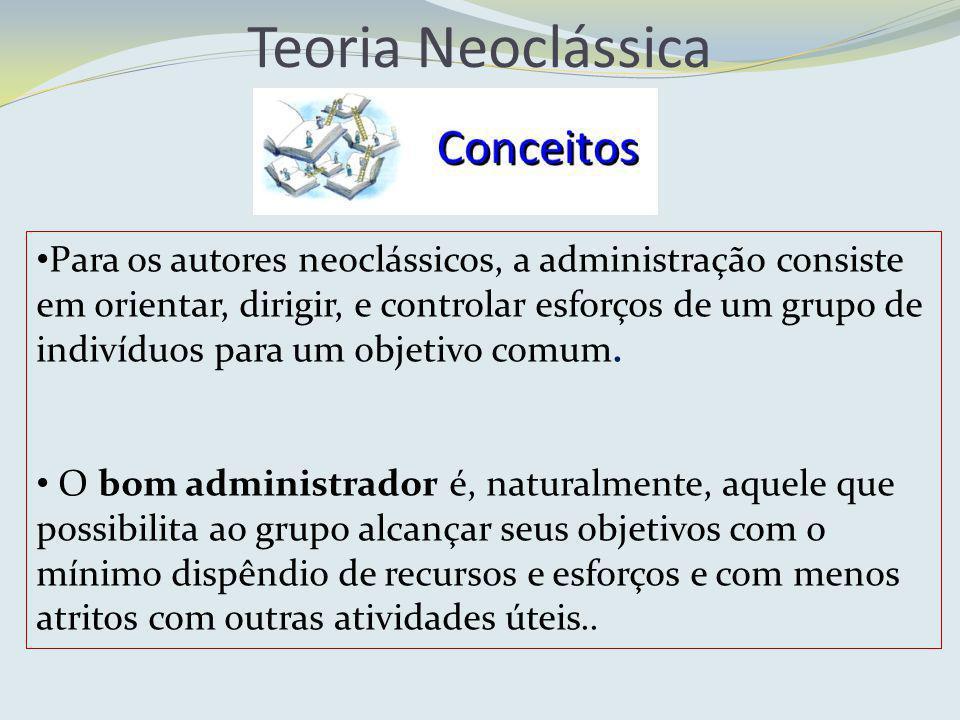 Teoria Neoclássica Para os autores neoclássicos, a administração consiste em orientar, dirigir, e controlar esforços de um grupo de indivíduos para um