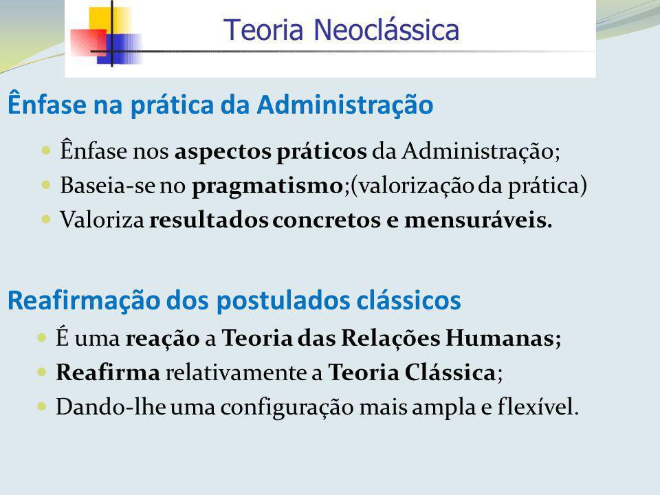 Ênfase na prática da Administração Ênfase nos aspectos práticos da Administração; Baseia-se no pragmatismo;(valorização da prática) Valoriza resultado