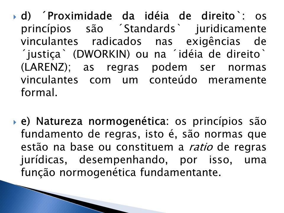 d) ´Proximidade da idéia de direito`: os princípios são ´Standards` juridicamente vinculantes radicados nas exigências de ´justiça` (DWORKIN) ou na ´i