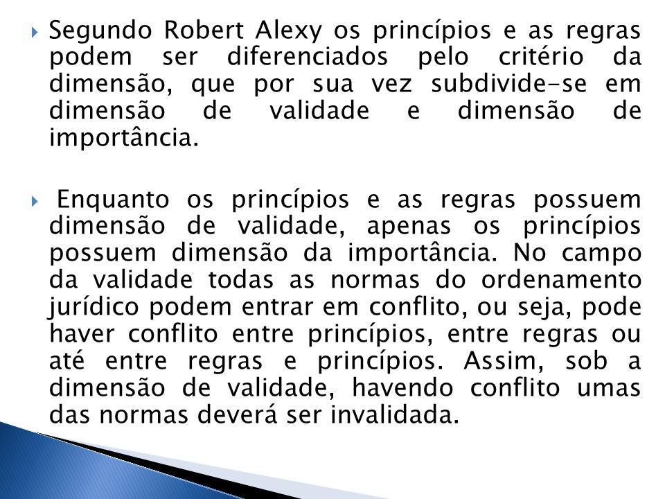 Segundo Robert Alexy os princípios e as regras podem ser diferenciados pelo critério da dimensão, que por sua vez subdivide-se em dimensão de validade