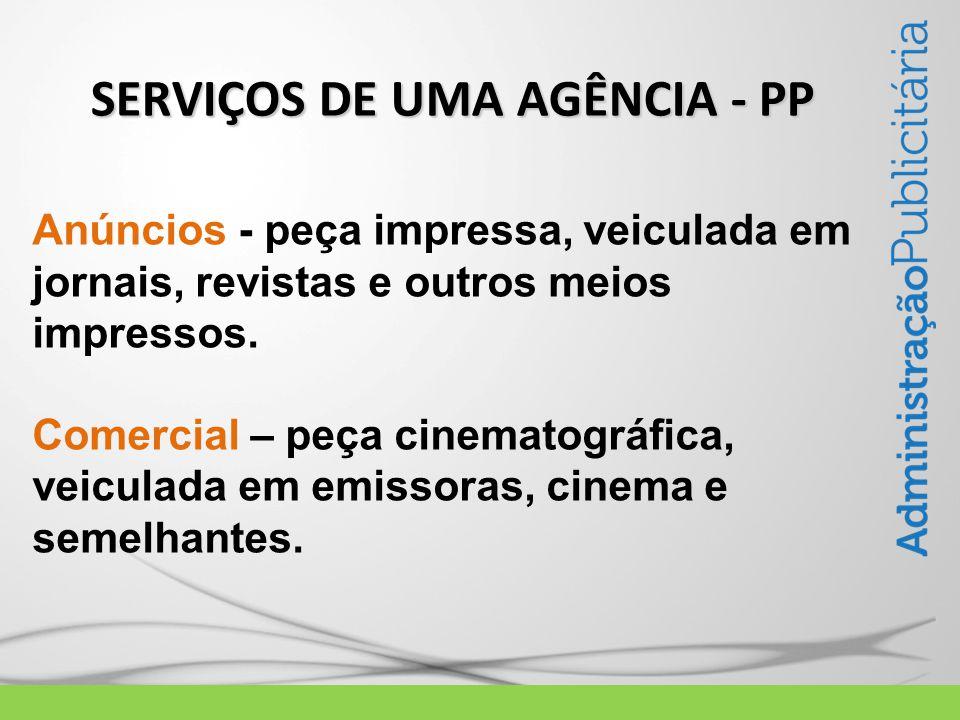 SERVIÇOS DE UMA AGÊNCIA - PP Anúncios - peça impressa, veiculada em jornais, revistas e outros meios impressos.