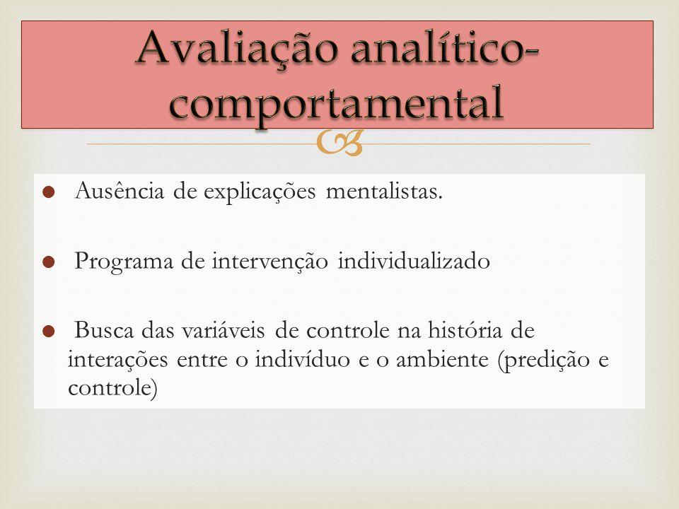 Ausência de explicações mentalistas. Programa de intervenção individualizado Busca das variáveis de controle na história de interações entre o indivíd