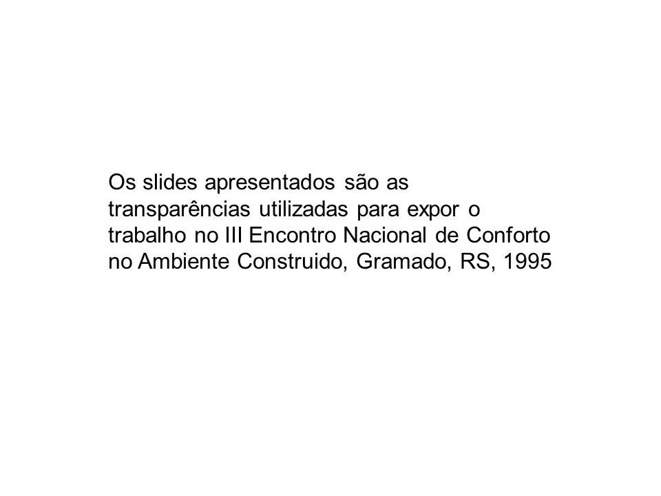 Os slides apresentados são as transparências utilizadas para expor o trabalho no III Encontro Nacional de Conforto no Ambiente Construido, Gramado, RS