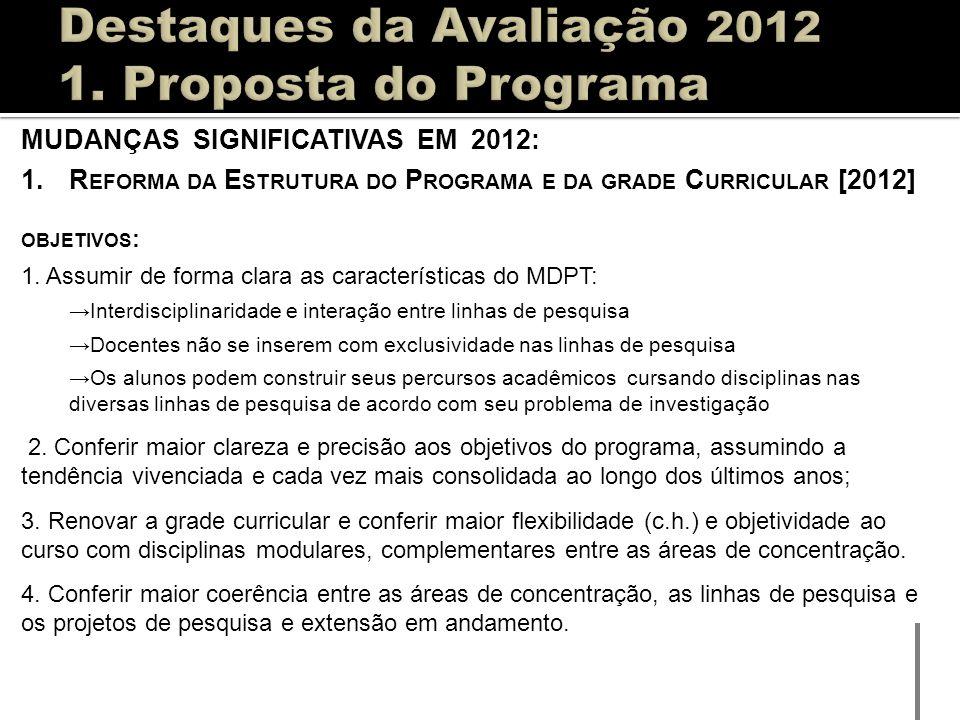 MUDANÇAS SIGNIFICATIVAS EM 2012: 1.R EFORMA DA E STRUTURA DO P ROGRAMA E DA GRADE C URRICULAR [2012] OBJETIVOS : 1. Assumir de forma clara as caracter
