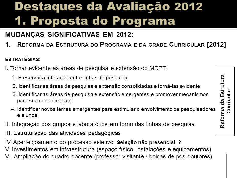 MUDANÇAS SIGNIFICATIVAS EM 2012: 1.R EFORMA DA E STRUTURA DO P ROGRAMA E DA GRADE C URRICULAR [2012] ESTRATÉGIAS : I. Tornar evidente as áreas de pesq
