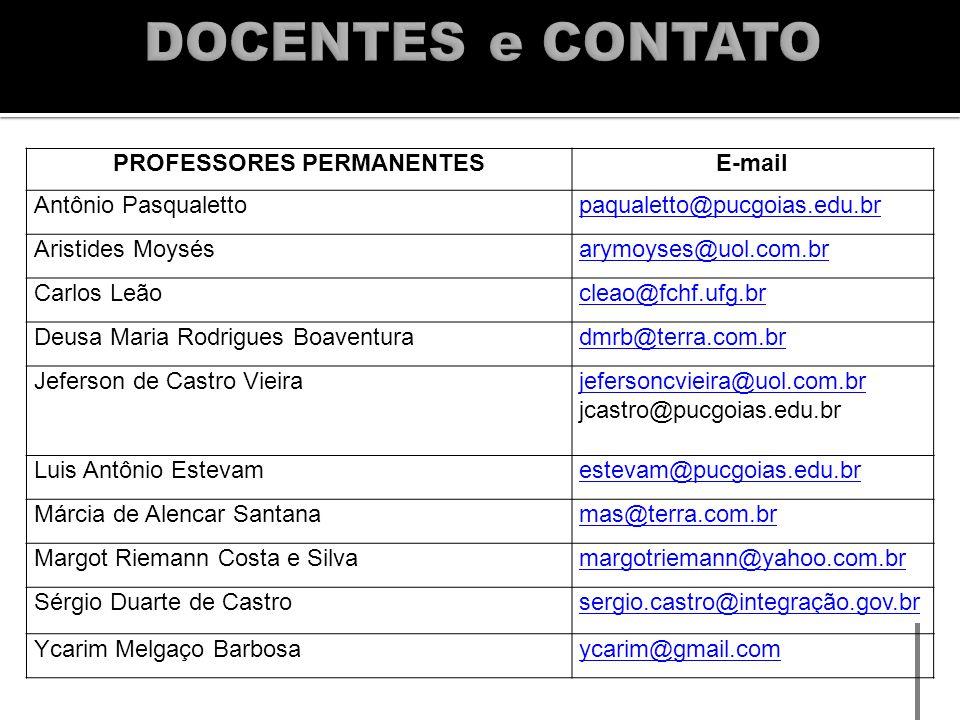 PROFESSORES PERMANENTESE-mail Antônio Pasqualettopaqualetto@pucgoias.edu.br Aristides Moysésarymoyses@uol.com.br Carlos Leãocleao@fchf.ufg.br Deusa Ma