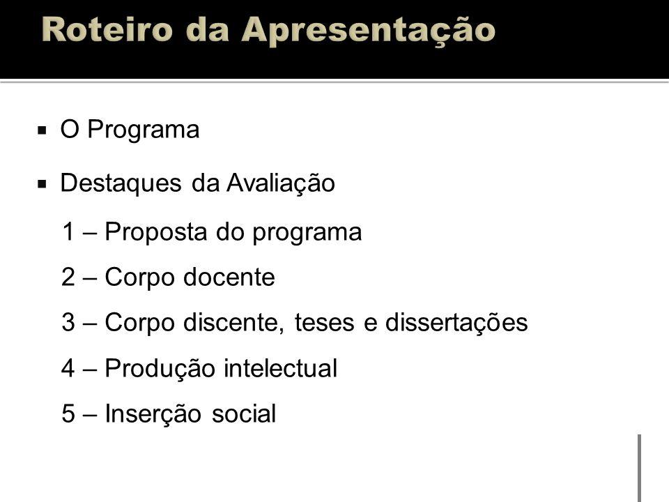 O Programa Destaques da Avaliação 1 – Proposta do programa 2 – Corpo docente 3 – Corpo discente, teses e dissertações 4 – Produção intelectual 5 – Ins
