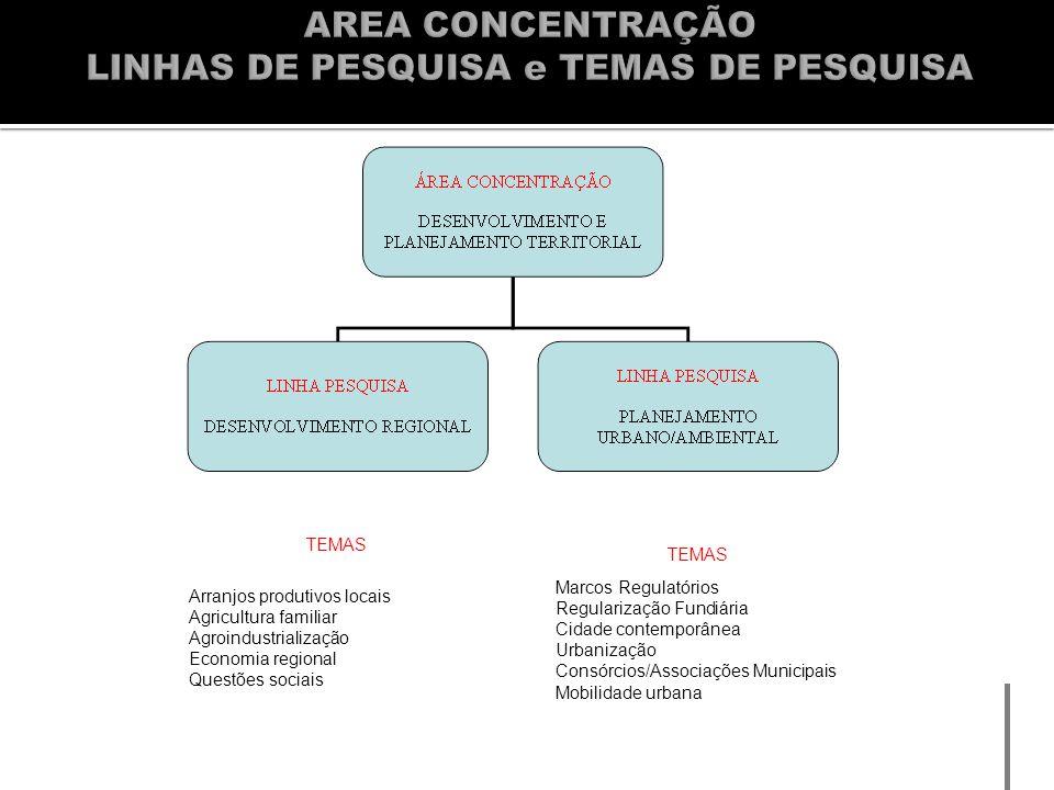 TEMAS Marcos Regulatórios Regularização Fundiária Cidade contemporânea Urbanização Consórcios/Associações Municipais Mobilidade urbana Arranjos produt