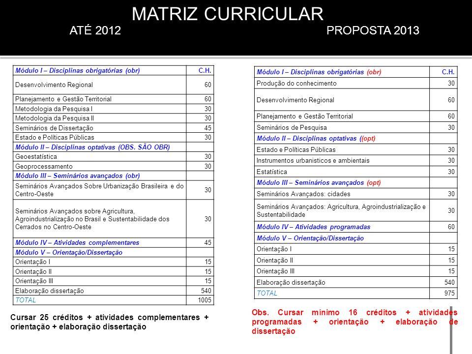 PROPOSTA 2013 Obs. Cursar mínimo 16 créditos + atividades programadas + orientação + elaboração de dissertação ATÉ 2012 Módulo I – Disciplinas obrigat
