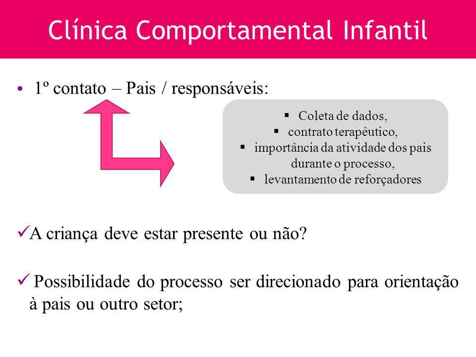 Clínica Comportamental Infantil 1º contato – Pais / responsáveis: A criança deve estar presente ou não? Possibilidade do processo ser direcionado para