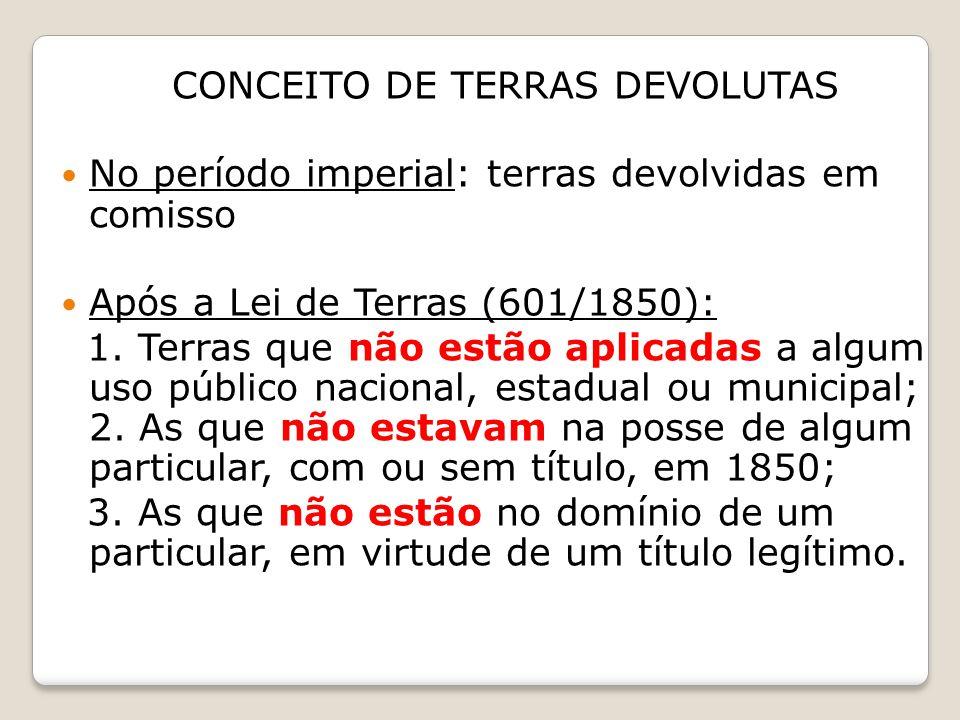 CONCEITO DE TERRAS DEVOLUTAS No período imperial: terras devolvidas em comisso Após a Lei de Terras (601/1850): 1. Terras que não estão aplicadas a al
