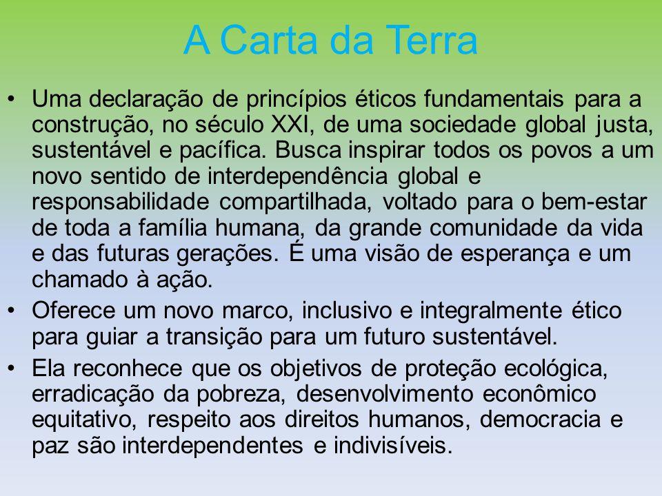 A Carta da Terra Uma declaração de princípios éticos fundamentais para a construção, no século XXI, de uma sociedade global justa, sustentável e pacíf