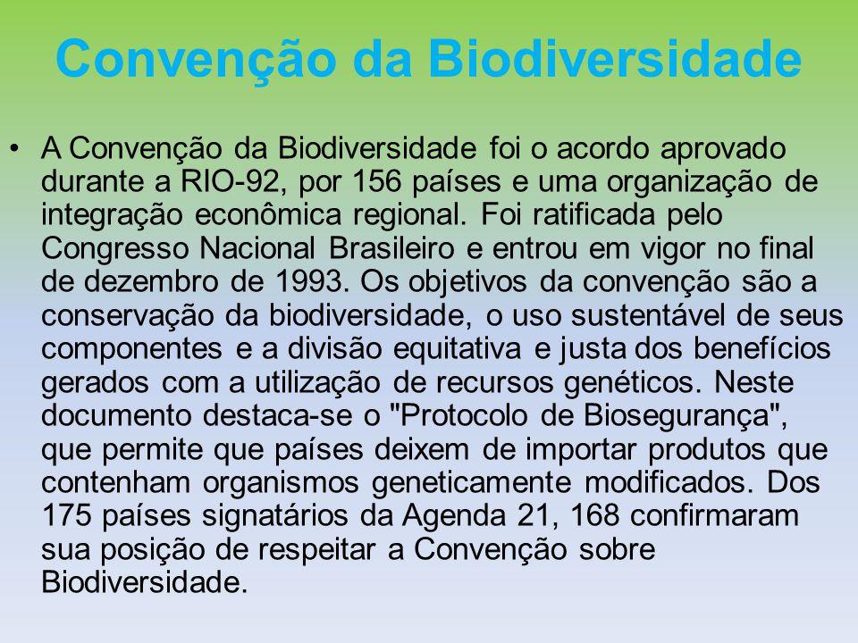 Convenção da Biodiversidade A Convenção da Biodiversidade foi o acordo aprovado durante a RIO-92, por 156 países e uma organização de integração econô