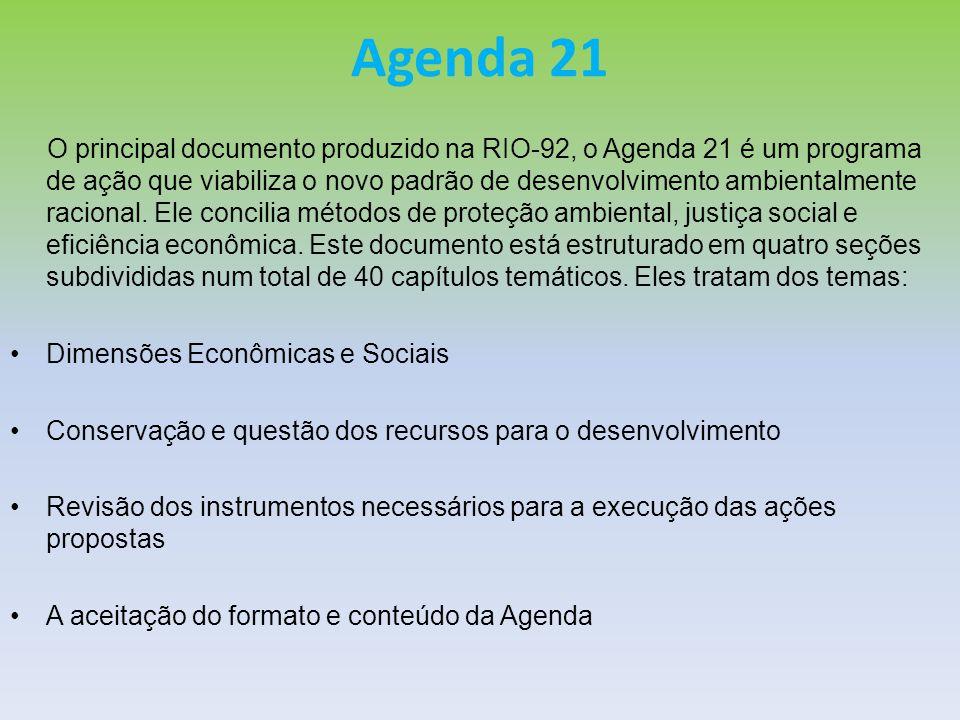 Agenda 21 O principal documento produzido na RIO-92, o Agenda 21 é um programa de ação que viabiliza o novo padrão de desenvolvimento ambientalmente r