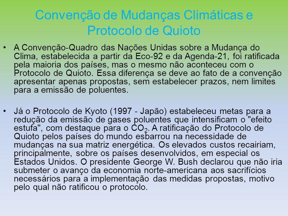 Convenção de Mudanças Climáticas e Protocolo de Quioto A Convenção-Quadro das Nações Unidas sobre a Mudança do Clima, estabelecida a partir da Eco-92