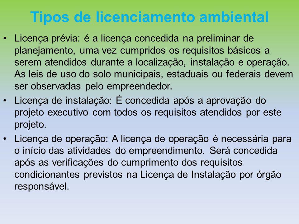 Tipos de licenciamento ambiental Licença prévia: é a licença concedida na preliminar de planejamento, uma vez cumpridos os requisitos básicos a serem