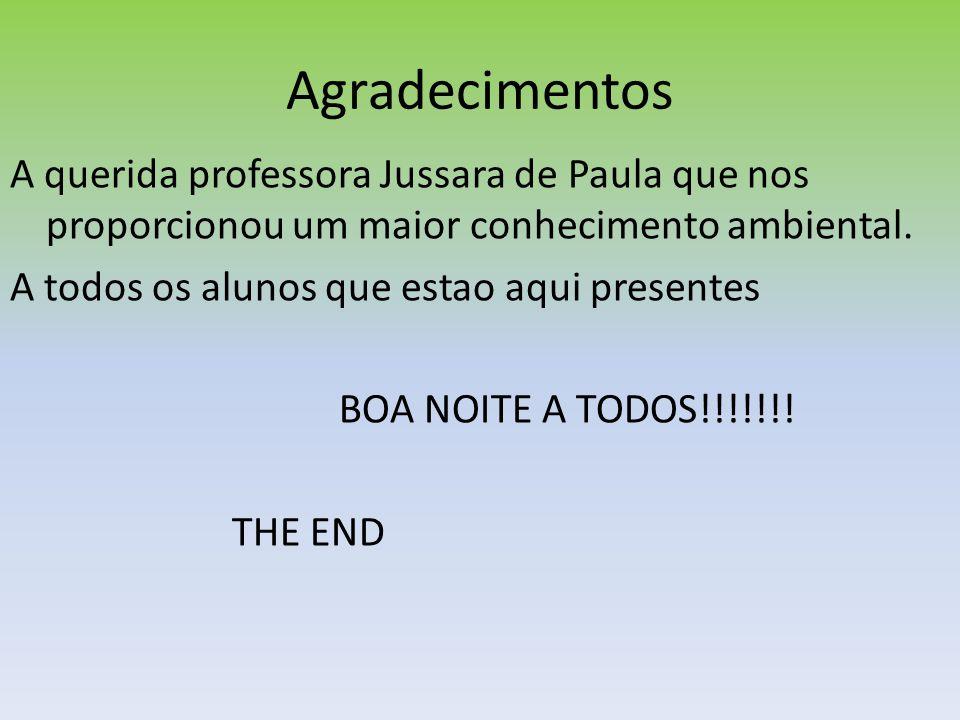 Agradecimentos A querida professora Jussara de Paula que nos proporcionou um maior conhecimento ambiental. A todos os alunos que estao aqui presentes