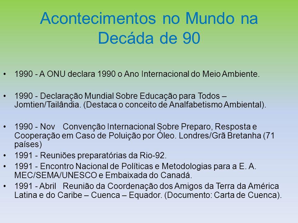Acontecimentos no Mundo na Decáda de 90 1990 - A ONU declara 1990 o Ano Internacional do Meio Ambiente. 1990 - Declaração Mundial Sobre Educação para