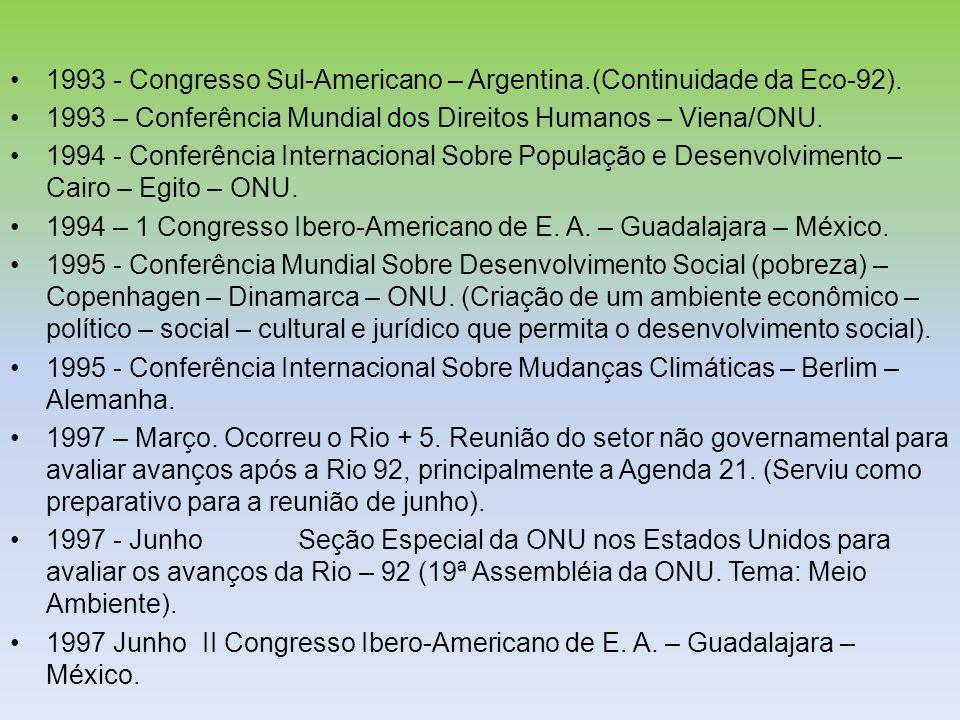 1993 - Congresso Sul-Americano – Argentina.(Continuidade da Eco-92). 1993 – Conferência Mundial dos Direitos Humanos – Viena/ONU. 1994 - Conferência I