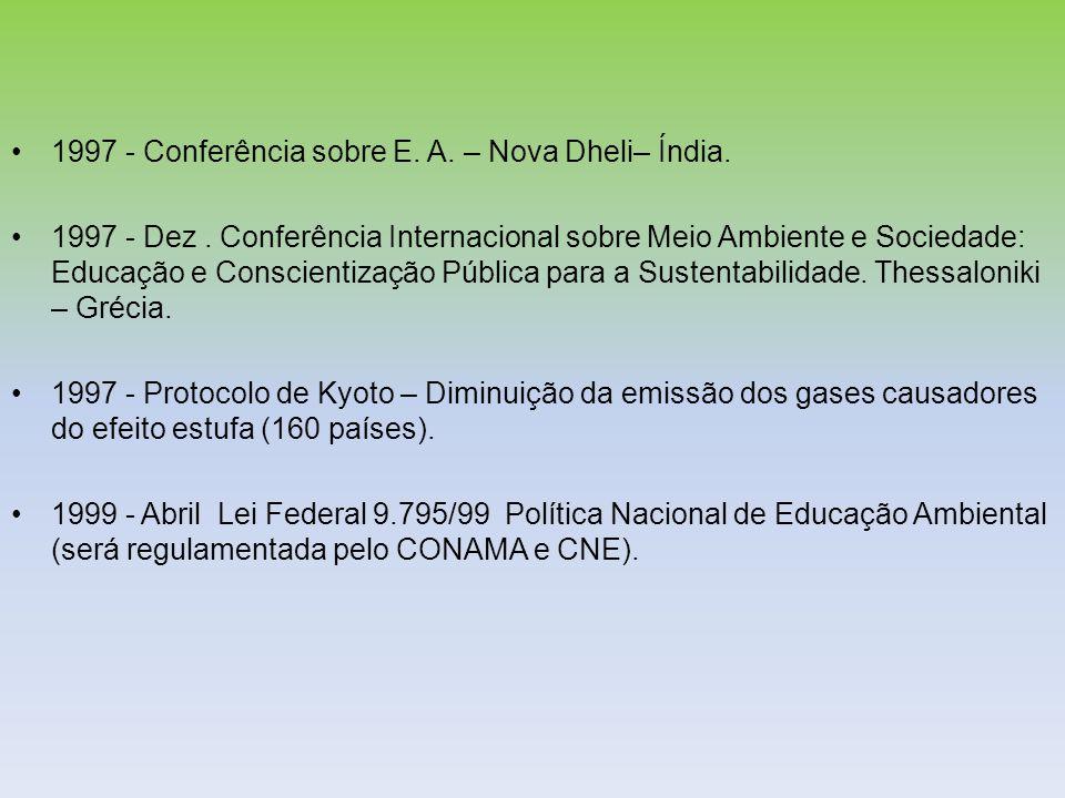 1997 - Conferência sobre E. A. – Nova Dheli– Índia. 1997 - Dez. Conferência Internacional sobre Meio Ambiente e Sociedade: Educação e Conscientização