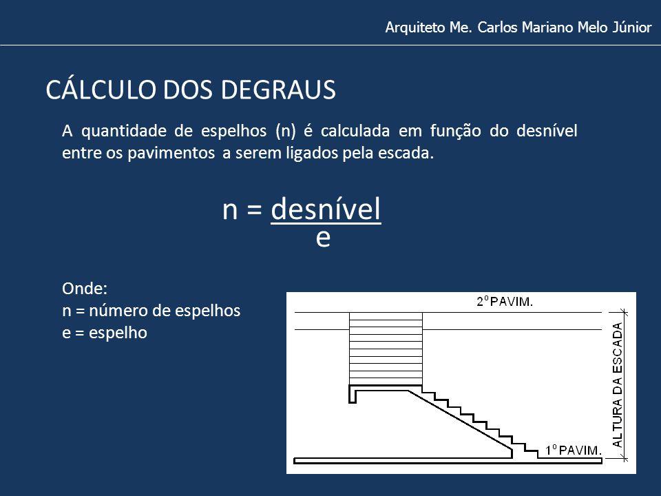 Arquiteto Me. Carlos Mariano Melo Júnior CÁLCULO DOS DEGRAUS A quantidade de espelhos (n) é calculada em função do desnível entre os pavimentos a sere