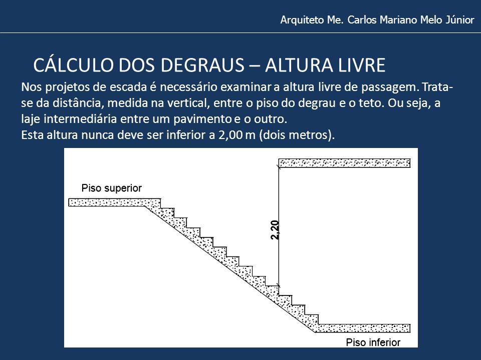 Arquiteto Me. Carlos Mariano Melo Júnior CÁLCULO DOS DEGRAUS – ALTURA LIVRE Nos projetos de escada é necessário examinar a altura livre de passagem. T