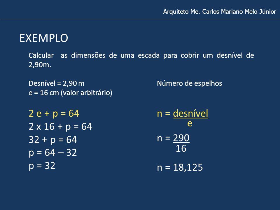 Arquiteto Me. Carlos Mariano Melo Júnior EXEMPLO Desnível = 2,90 m e = 16 cm (valor arbitrário) Calcular as dimensões de uma escada para cobrir um des