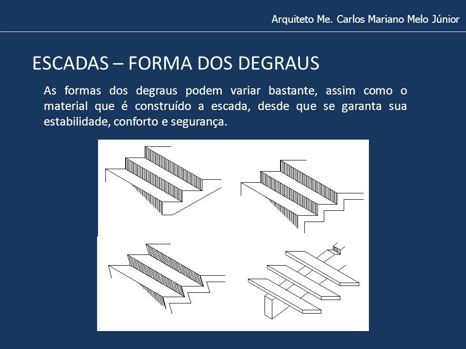 ESCADAS – FORMA DOS DEGRAUS Arquiteto Me. Carlos Mariano Melo Júnior As formas dos degraus podem variar bastante, assim como o material que é construí