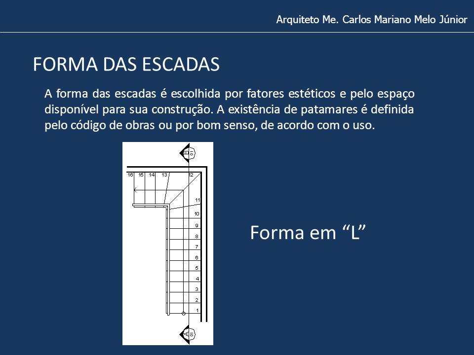 FORMA DAS ESCADAS Arquiteto Me. Carlos Mariano Melo Júnior A forma das escadas é escolhida por fatores estéticos e pelo espaço disponível para sua con