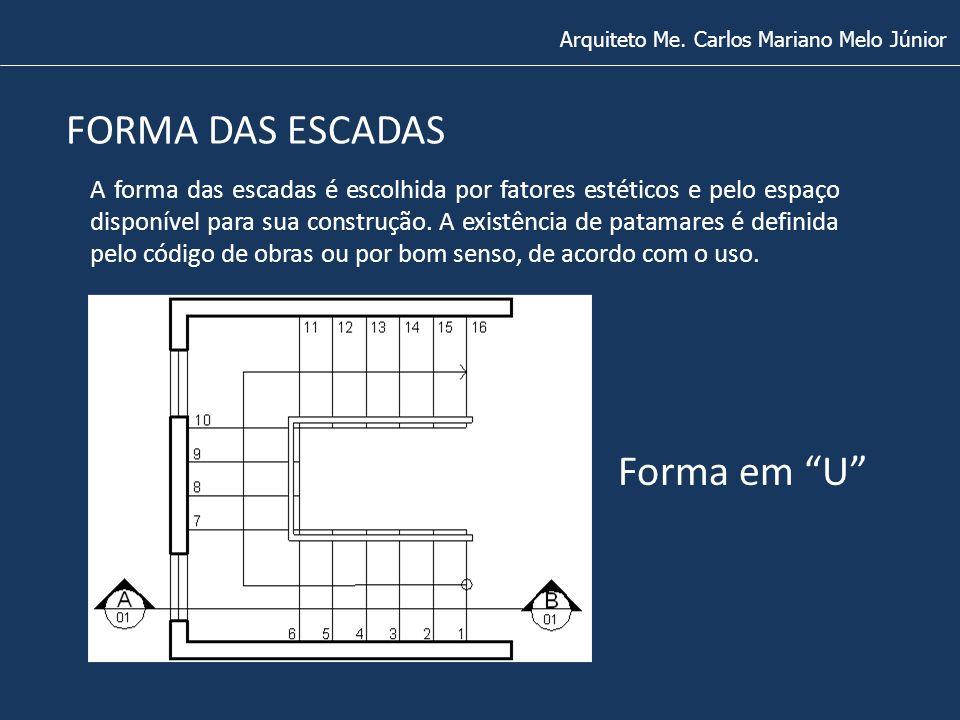 FORMA DAS ESCADAS Arquiteto Me. Carlos Mariano Melo Júnior Forma em U A forma das escadas é escolhida por fatores estéticos e pelo espaço disponível p