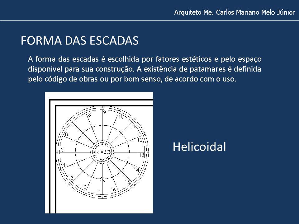 FORMA DAS ESCADAS Arquiteto Me. Carlos Mariano Melo Júnior Helicoidal A forma das escadas é escolhida por fatores estéticos e pelo espaço disponível p