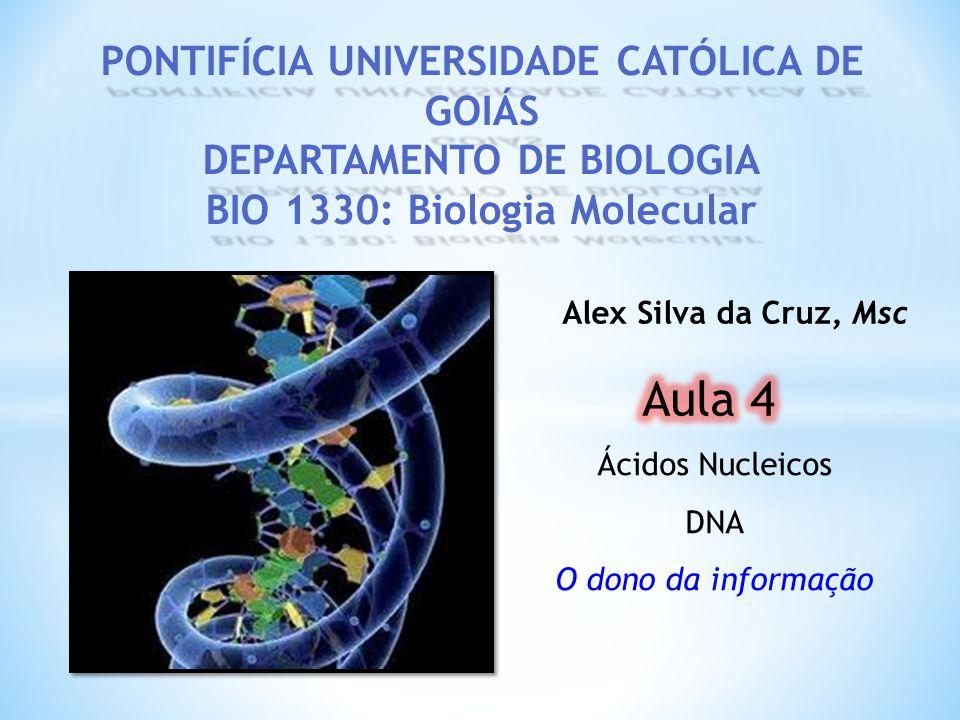PONTIFÍCIA UNIVERSIDADE CATÓLICA DE GOIÁS DEPARTAMENTO DE BIOLOGIA BIO 1330: Biologia Molecular Alex Silva da Cruz, Msc Ácidos Nucleicos DNA O dono da