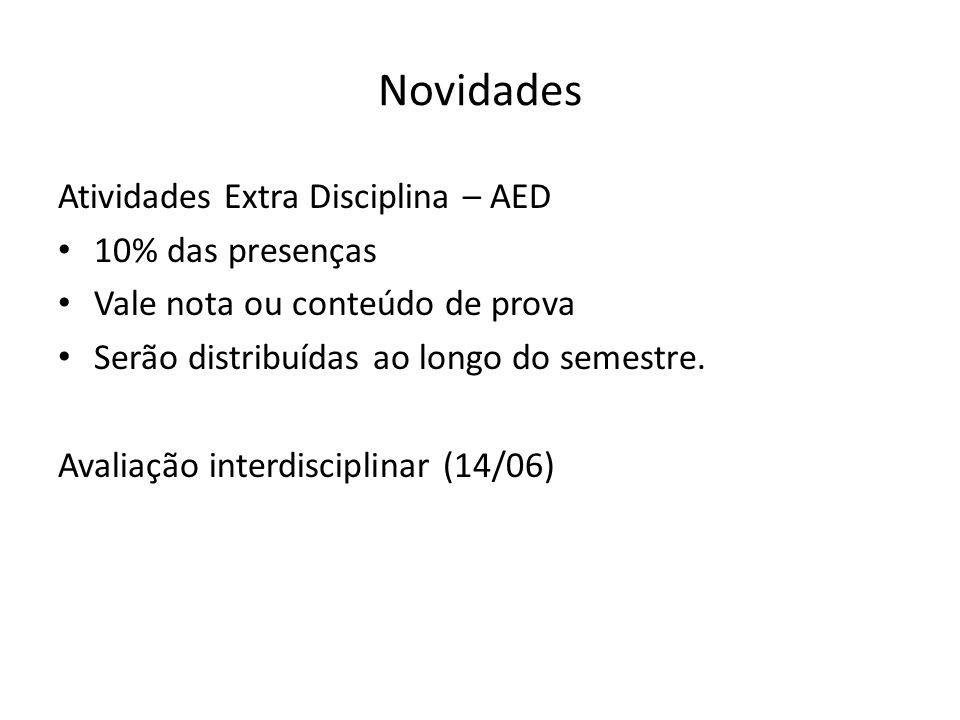 Novidades Atividades Extra Disciplina – AED 10% das presenças Vale nota ou conteúdo de prova Serão distribuídas ao longo do semestre. Avaliação interd