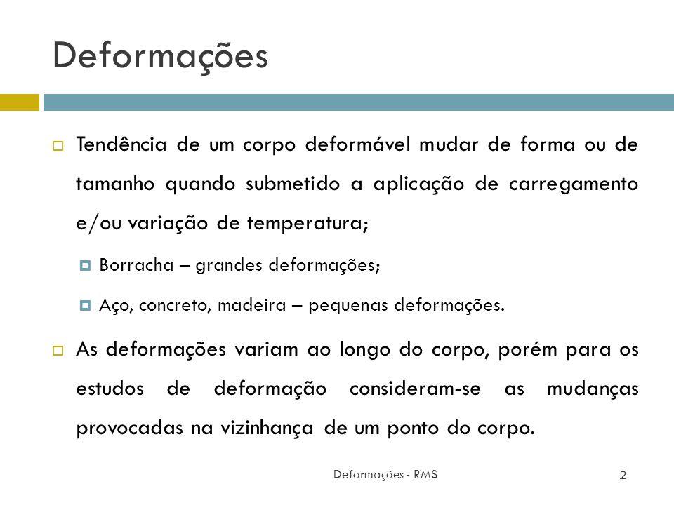 Deformações Deformações - RMS 2 Tendência de um corpo deformável mudar de forma ou de tamanho quando submetido a aplicação de carregamento e/ou variaç