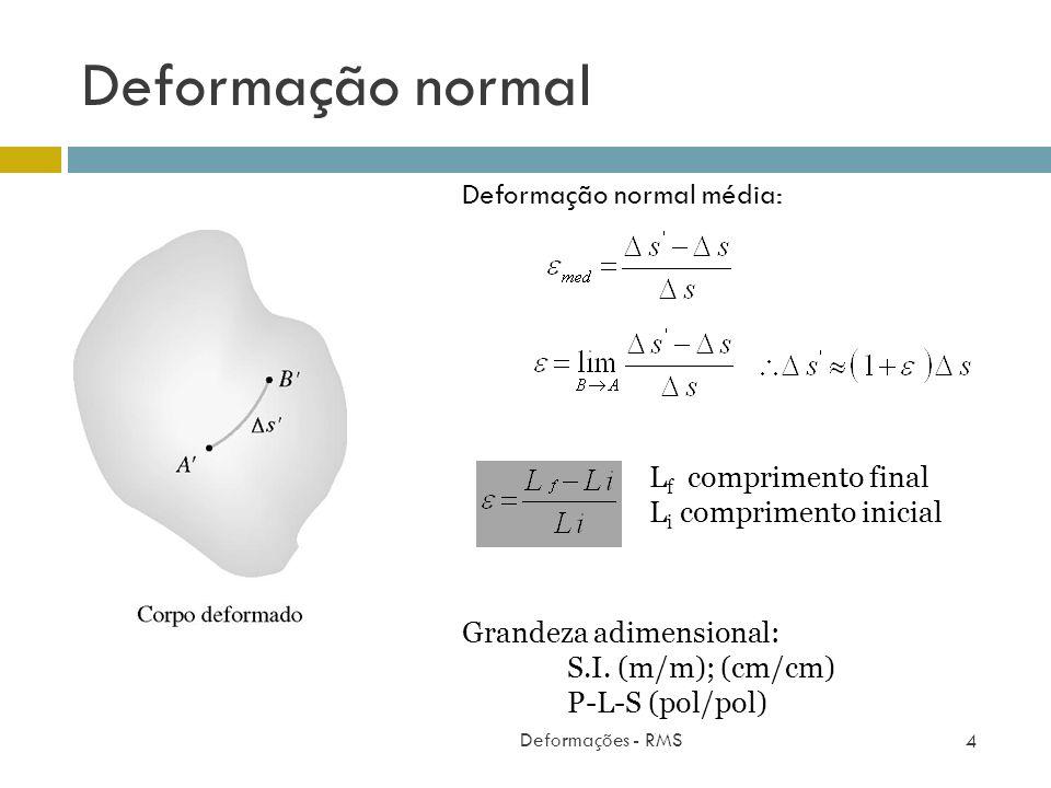 Deformação normal Deformações - RMS 4 Deformação normal média: Grandeza adimensional: S.I. (m/m); (cm/cm) P-L-S (pol/pol) L f comprimento final L i co