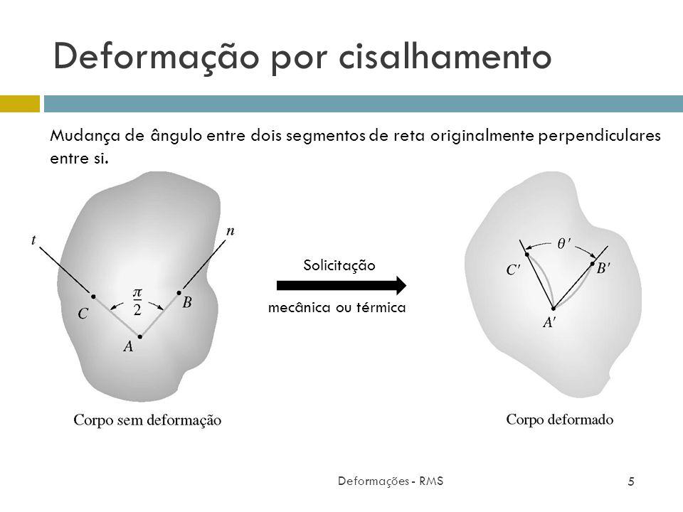 Deformação por cisalhamento Deformações - RMS 5 Mudança de ângulo entre dois segmentos de reta originalmente perpendiculares entre si. Solicitação mec
