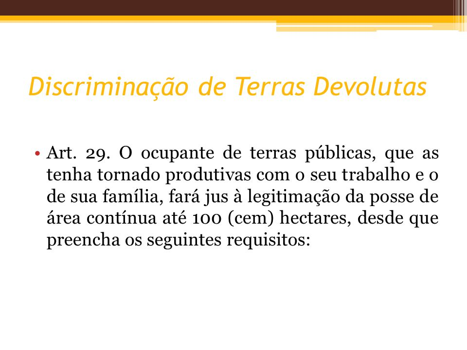 Discriminação de Terras Devolutas Art.29.