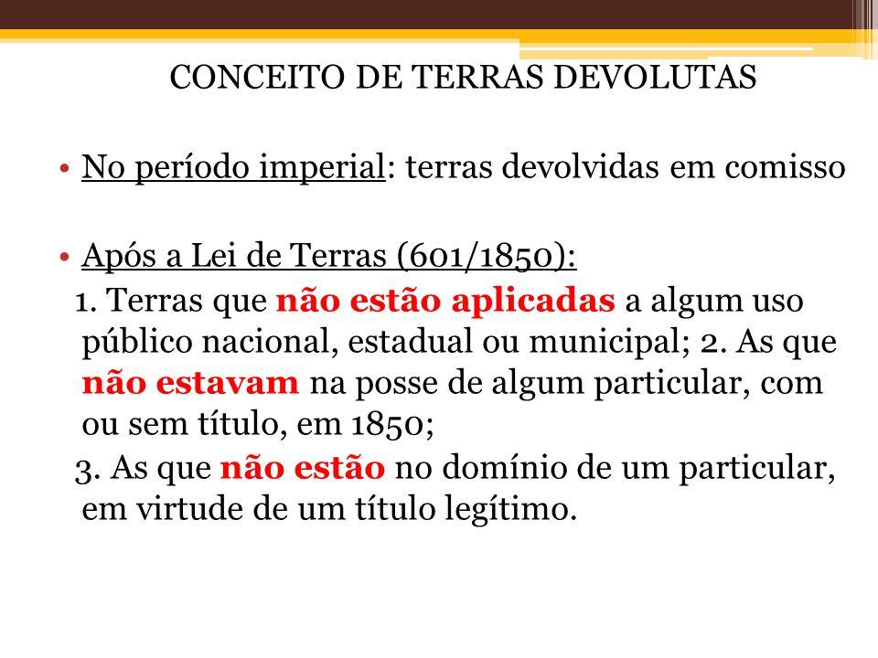 CONCEITO DE TERRAS DEVOLUTAS No período imperial: terras devolvidas em comisso Após a Lei de Terras (601/1850): 1.